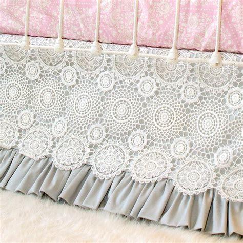 grey crib skirt gray crochet lace crib skirt lottie da baby