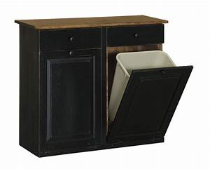 Double Trash Bin Cabinet with Drawers - Peaceful Valley