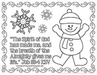 story theme pages christian preschool printables 412 | SnowmanColoring