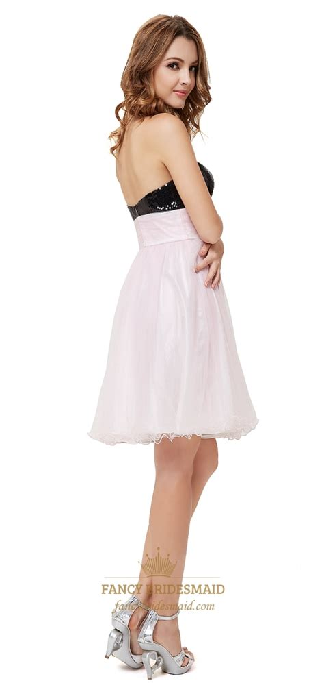 light pink cocktail dress light pink cocktail dress with black sequin top black and