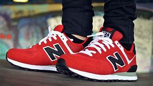 New Balance 574 Red Black & White + On Feet HD - YouTube