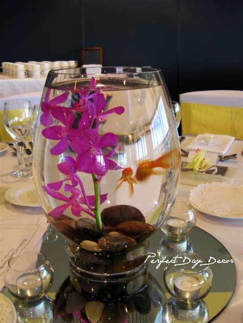 table centerpieces using photos wedding centerpieces using gold fish goldfish