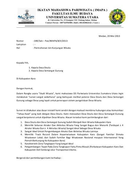 Surat Ijin Kerja Dinas by Contoh Surat Kunjungan Kerja Dinas Suratmenyurat Net
