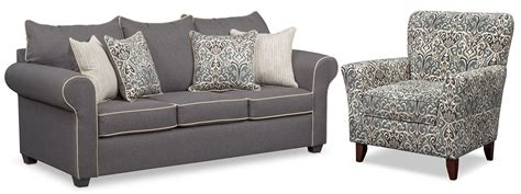 value city furniture outlet carla sofa and accent chair set gray value city