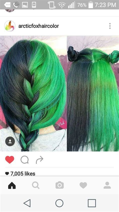 Half Deep Black Green And Lime Hair In 2019 Hair Color