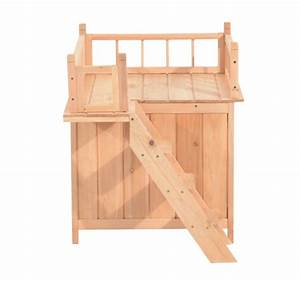 Pawhut 2 story indoor outdoor wood cat house shelter for 2 story dog house for sale