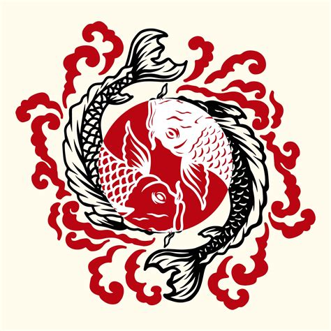 fish japanese tattoo   vector art stock