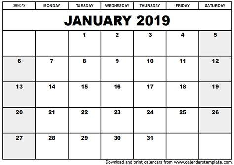2019 January Calendar Printable