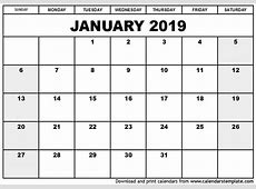 2019 January Calendar Printable Qualads