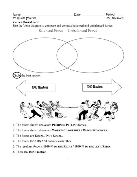 Force Diagram Worksheet Answers 1