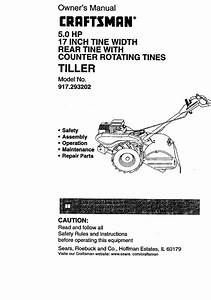 Craftsman 917293202 User Manual Tiller Manuals And Guides