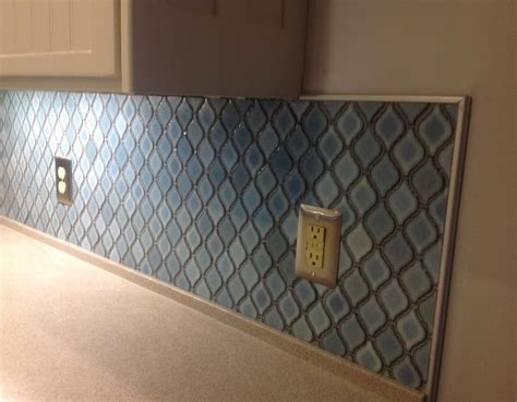 hometalk arabesque blue tile backsplash