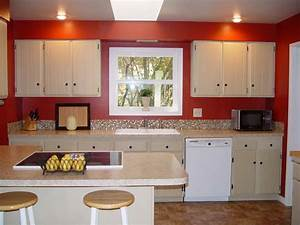 red walls in kitchen yahoo image search results red With kitchen colors with white cabinets with big wall art canvas