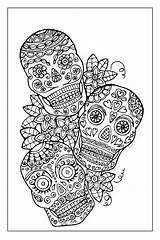 Coloring Skull Sugar Adult Printable Template sketch template