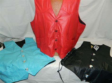 Custom Made Usa Leather Motorcycle Club Vest Men/women Red