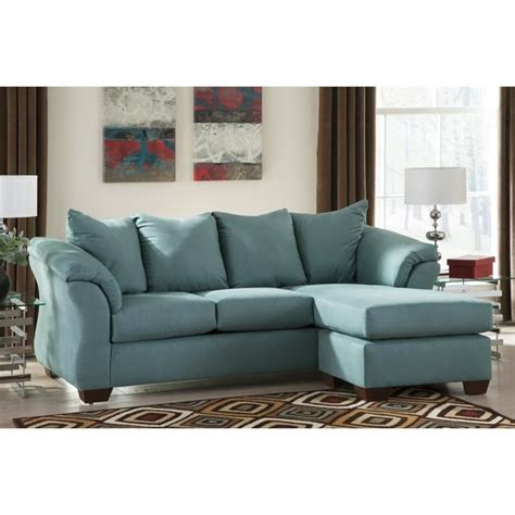 ashley darcy sectional sofa ashley darcy fabric 2 piece chaise sofa in sky 7500618