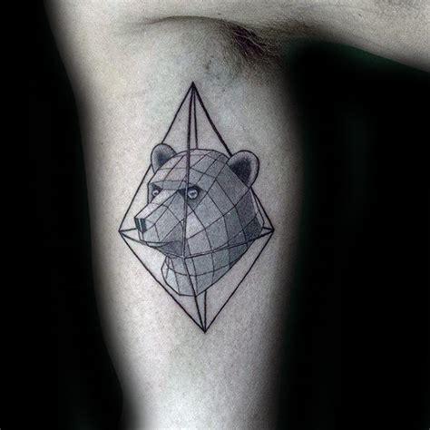 geometric bear tattoo designs  men manly ink ideas