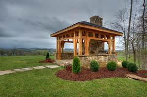 Wood Timber Frame Pavilion with Fireplace
