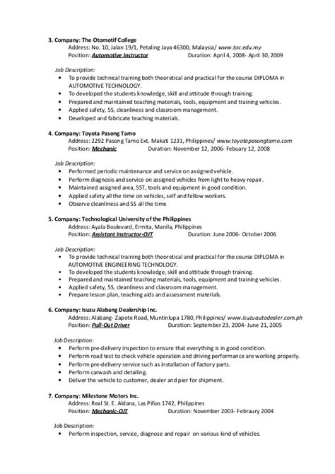 Automotive Technical Trainer Resume by Christian San Jose Resume