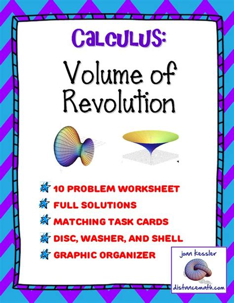 calculus volume of revolution task cards test worksheet