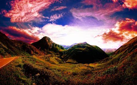 Sunset Mountain Road Sky Landscape D Wallpaper 1920x1200