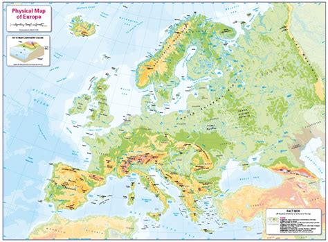 physical map  europe small wall map