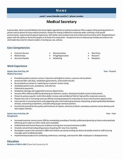 Resume Secretary Medical Zipjob Example