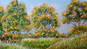 how to paint autumn landscape with pastel fall color