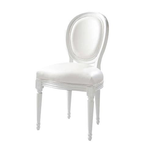 chaise medaillon en textile enduit blanc louis maisons du monde