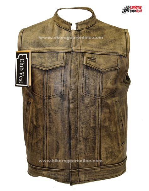 motorcycle jacket vest men 39 s distressed brown leather motorcycle club vest