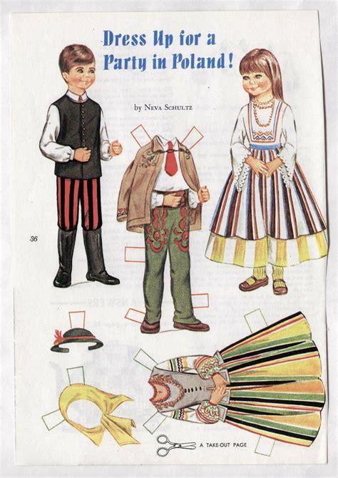 vintage dress    party  poland paper dolls