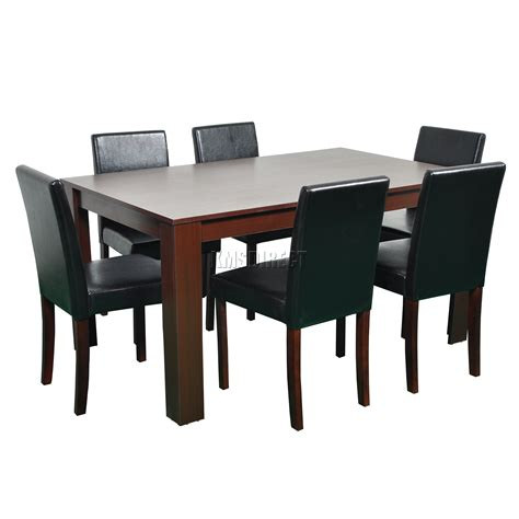 wooden chairs for dining table foxhunter wooden dining table and 6 pu faux leather chairs