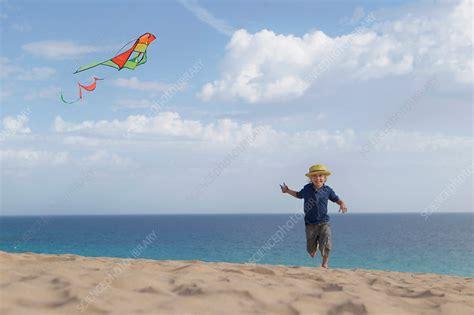 boy flying kite  beach stock image