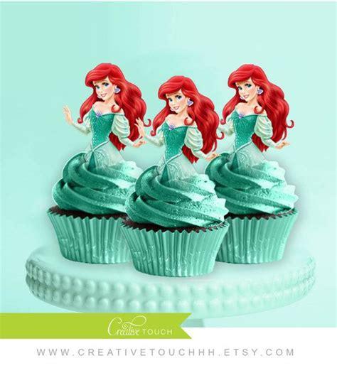 ariel cupcake toppers   mermaid princess ariel