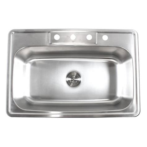 33 Inch Stainless Steel Top Mount Drop In Single Bowl