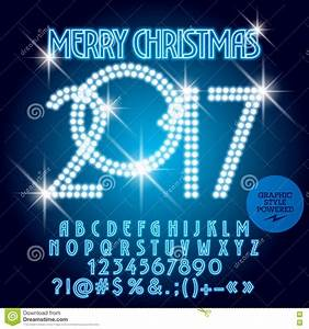 vector blue light up merry christmas 2017 greeting card With merry christmas light up letters