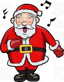 a jolly santa claus singing in delight vector clip art cartoon