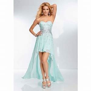 High Low Hem Strapless Sweetheart Light Baby Blue Chiffon