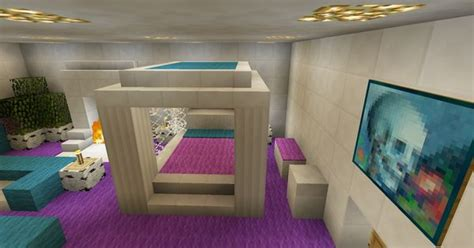 minecraft bedroom pink girl purple furniture canopy bed