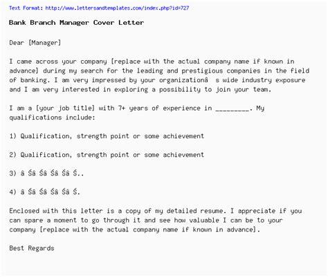 bank branch manager cover letter job application letter