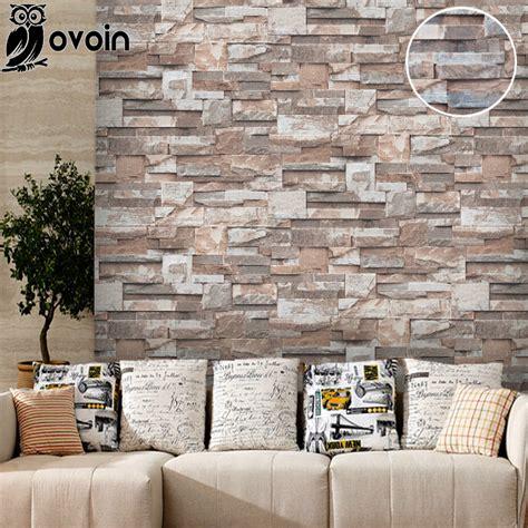 stickers muraux imitation vinyl brown grey beige nature emboss 3d wall paper roll brick wall wallpaper for living