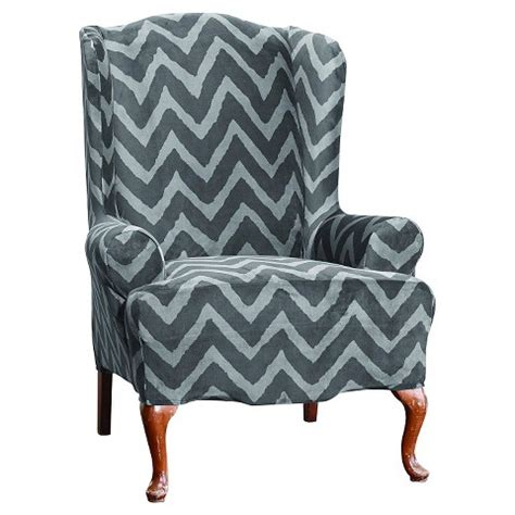 target wing chair slipcovers sure fit plush chevron wing chair slipcover target