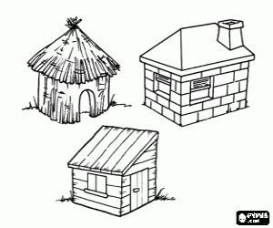 maison des 3 petits cochons coloriage les trois petits cochons 224 imprimer