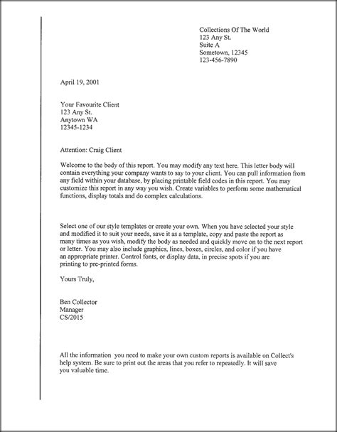 form letter template client letter template sles
