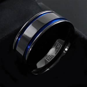 Gunmetal titanium men39s double blue stripe wedding band for Mens gunmetal wedding rings