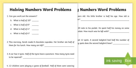 halving numbers word problems worksheet activity sheet