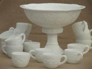 vintage milk glass punch set, large punch bowl, pedestal
