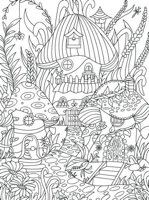 enchanting flowers coloring page hidden garden  adult coloring book  secret forest animals