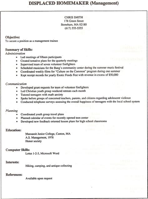 Homemaker Resume Sles Exles by Displaced Homemaker Resume