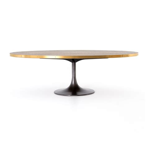 brass dining table base oval iron oak and brass tulip base dining table mecox